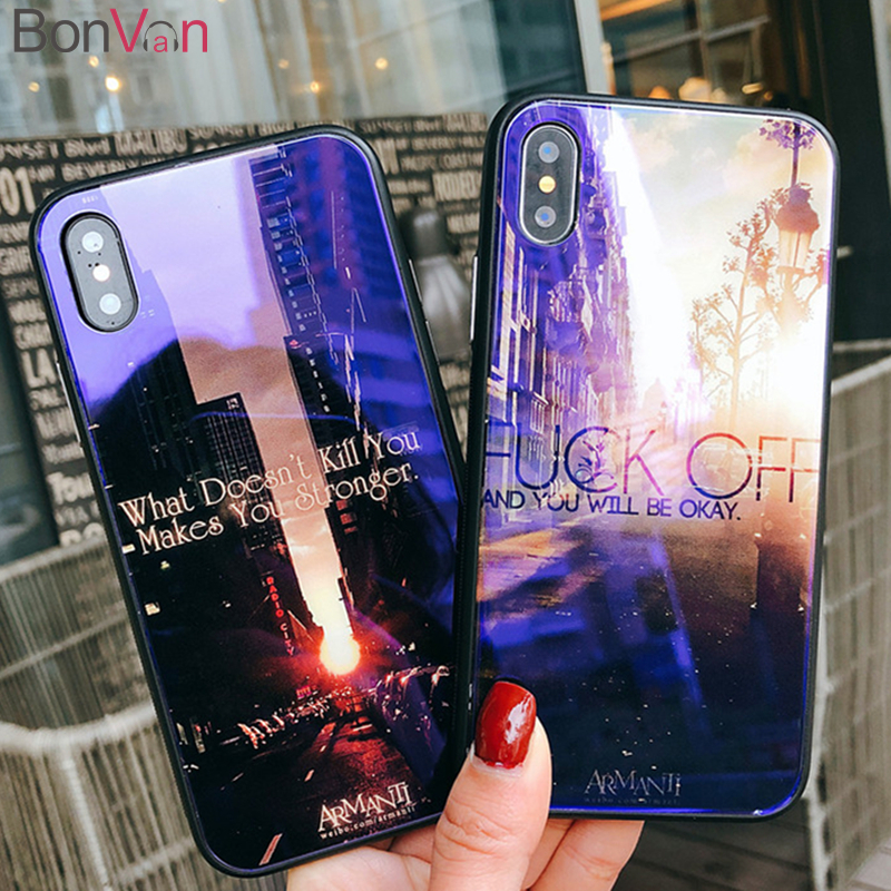 BONVAN Tempered Glass Case iPhone 7 6S 8 6 Plus Hard Back Cover Soft Silicone Frame iPhone X Blue Ray Street views Case