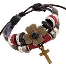 PK0434 Mix Bead Landing on leather Flower charms leather bracelet Cross