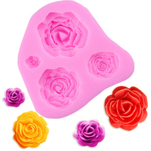 M025 3D Rose Flower Silicone Mold Fondant Cake Decorating Chocolate Cookie Soap Fimo Polymer Clay Resin baking molds(China)
