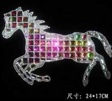 Classic big horse rhinestones motif hot fix rhinestone transfer motifs iron rhinestone appliques rhinestones fix applique