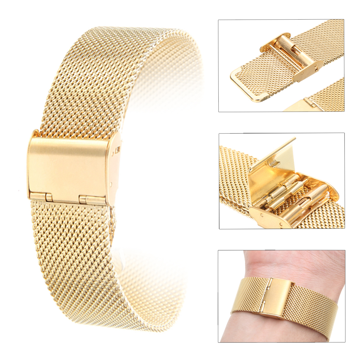 12mm/14mm/16mm/18mm/20mm/22mm/24mm Stainless Steel Watch Strap Straight End Bracelet Mesh Buckle Watch Band 4 Colors Shellhard