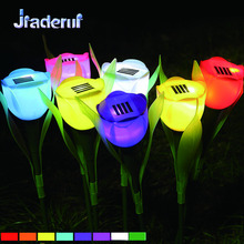 Jiaderui LED Solar Powered Tulip Flower Night Lights Romantic Outdoor WaterProol Decorate Yard Garden Lawn Solar Holiday Lamps