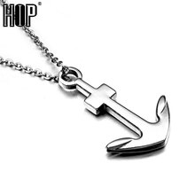 HIP Punk High Polish Stainless Steel Hope Navy Sailor Anchor Pendant Necklaces for Men Jewelry