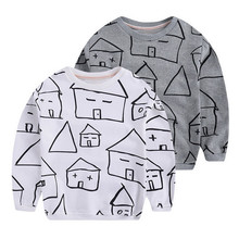 hot sale 2016 unisex baby kids cartoon house printed boys terry cotton T shirt children girl fashion spring top sweatshirt cloth
