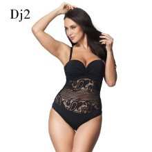 Hot Sale Sexy High Cut Swimsuit One Piece Swimwear Women Plus Size One Piece Black Lace Beach Bathing Suit Brazilian Monokini(China)