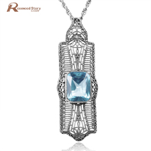 2017 New Fashion Big Quartz Crystal Pendant Blue Rhinestone Vintage Soild 925 Sterling Silver Necklaces For Women Fine jewelry(China)