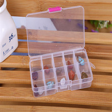 HAICAR 10 Grids Adjustable storing Jewelry Beads Pills Nail Art Tips plastic Storage Box Case or organizer Aug23 Factory Price