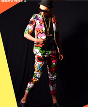 Korea Slim Casual Colourful Graffiti Printed Summer Short Sleeve Suits Male Boy Singer Performance Blazer Long Coat Costume