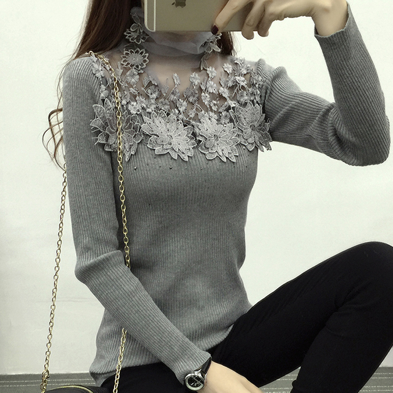 fashion long sleeve winter sweater women sexy hollow lace women sweater autumn solid turtleneck knitted pullover sweater A287