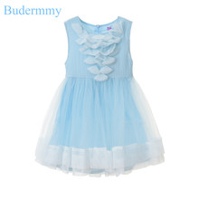 Dress for Girl Chiffon Bow Princess Dress Pink Blue Wedding Dress for 5 6 7 8 9 10 Years Children's Clothes for Girls Dresses(China)