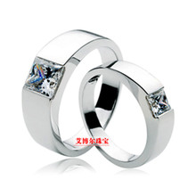 Hot 1ct Princess cut sona simulated stone ring, solid silver ring for men and women,weeding ring (price is for one ring)(China)