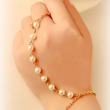 New Arrival Fashion Jewelry Beautiful Imitation Pearls Chain Linked Finger Loop Bracelet Elegant Women's Wire hand Harness Ring(China)