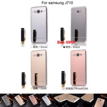 Electroplating Soft TPU Mirror Phone Cell Telephone Case Cover Fundas For Samsung Galaxy J7 J710 2016 J710FN J710F Gold Silver