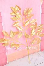 100PCS wholesale Artificials gold tree banyan leaves tree branches wedding christmas festival decoration real touch banian leaf