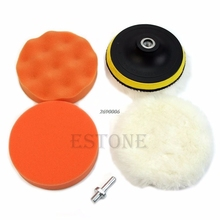 Hot New 6pcs 5'' Auto Car Polisher Polishing Polish Buffer Clean Waxing Pad Set