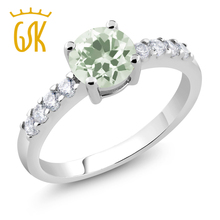 2017 Fashion Flower Party Rings 1.34 Ct Round Green Cubic Zirconia Austrian Crystal Wedding Engagement ring for Women Gift(China)
