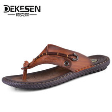 Buy DEKESEN Luxury Brand 2018 New Men's Flip Flops Genuine Leather Slippers Summer Fashion Beach Sandals Shoes Men Casual shoes for $25.89 in AliExpress store