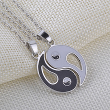 Necklace Pendant Puzzle Pieces Broken 2 Best Friend Necklace Chain Lovers Couple Men Women Necklace Hollow Yin yang Gifts Share