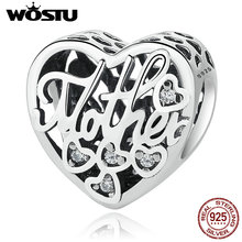100% 925 Sterling Silver MOTHER & SON Bond Heart Charms Fit Original wst Charm Bracelet Authentic Jewelry Accessories Making