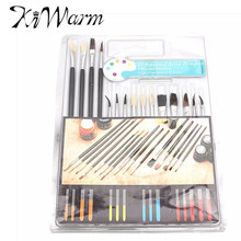KiWarm 15pcs/pack Excellent Artist Watercolor Acrylic Oil Painting Brush Pen Set Assorted Water Color Drawing School Supplies