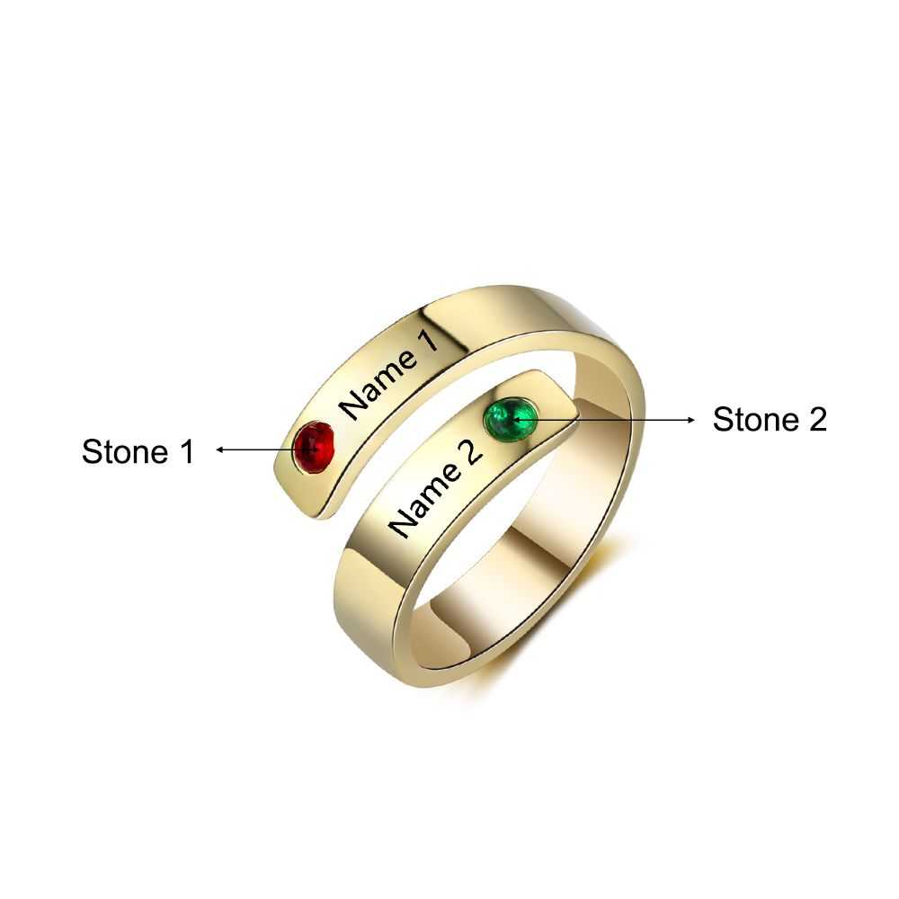 Two Names Engraving Personalized Birthstone Ring