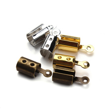 100pcs/lot fitting 4mm round or 3mm square leather rhodium /bronze /gold end fasteners F778C(China)