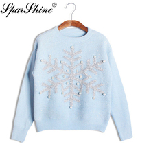 Christmas Women Sweater Pull Femme Hiver Pullovers And Sweaters Female Knitted Snowflake Jumpers Ladies Winter Autumn Tops