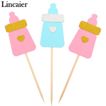Lincaier 12 Pieces Feeding Bottle Cupcake Toppers Baby Shower BabyShower Favors Boy Girl Birthday Party Decorations Supplies