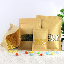8Pcs/ Lot Heat Seal Stand Up Valve Ziplock Kraft Paper Pack Bags W/ Frosted Window Biscuit Doypack Zipper Storage Pouch
