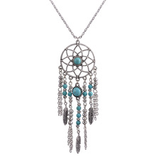 Collier Femme Feather Dreamcatche Pendant Necklace Bohemia Vintage Indian Style Long Sweater Chain Turkish Jewelry(China)