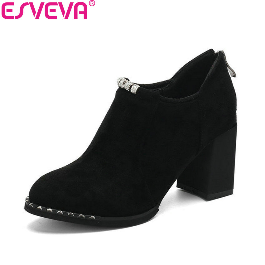 ESVEVA 2018 Round Toe Lace Up Woman Pumps Round Toe Shoes Women Square High Heels Cow Suede PU Pumps Elegant Shoes Size 34-43<br>