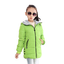 Mid-length Children's Jacket Girl Winter Jacket 2017 Fashion Warm Children's Clothing Hooded Jacket Thick Cotton Jacket(China)