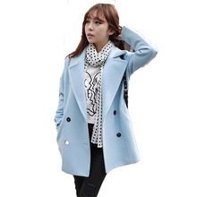 Fashion The new autumn and winter women's double-breasted Blends wool coat long section of straight solid color coat TB79263(China)