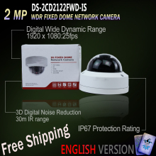 Free Shipping DS-2CD2122FWD-IS Original English Oversea Version IP housing 2MP WDR Fixed Dome Network Camera POE security 30m IR