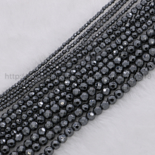 "Hot ! 32"" 16"" 18""Natural Hematite necklaces Hematite chain 2mm/3mm/4mm beads faceted black gun natural hematite beads cz210(China)"