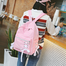 Middle School Girl Kawaii School Back Hong Kong Style Pink Backpack Ribbons Designs Cute Backpack Nylon Bags For Teenage zaino