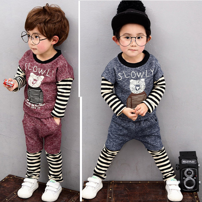 Childrens wear new spring boys cotton baby girl baby cartoon leisure two suits<br><br>Aliexpress