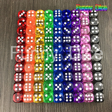 10Pcs 16mm Multicolor Acrylic Round Corner Clear Dice 6 sided Die Portable Table Games Dice Birthday Gifts(China)