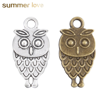 15*9mm 20 Pieces/Lot Alloy Charm OWL Accessory DIY Supplies For Jewelry Owl Accessory For Expandable Wire Bracelets jewelry