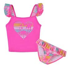2018 2Pcs Girls Swimwear Bikini Swimsuit Kids Ruffled Swimming Suit Girl Children Bathing Suit 1-7Y Tops+Shorts