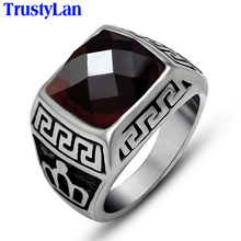 TrustyLan Punk Solid Stainless Steel Men Ring Big Red Purple Stone Finger Rings For Men Women Mens Male Jewelry Accessory Gifts