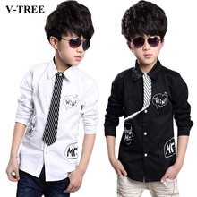 V-TREE Teenager boys long sleeve shirt fashion school shirt for boys children white shirts boys collared shirts boys clothing(China)