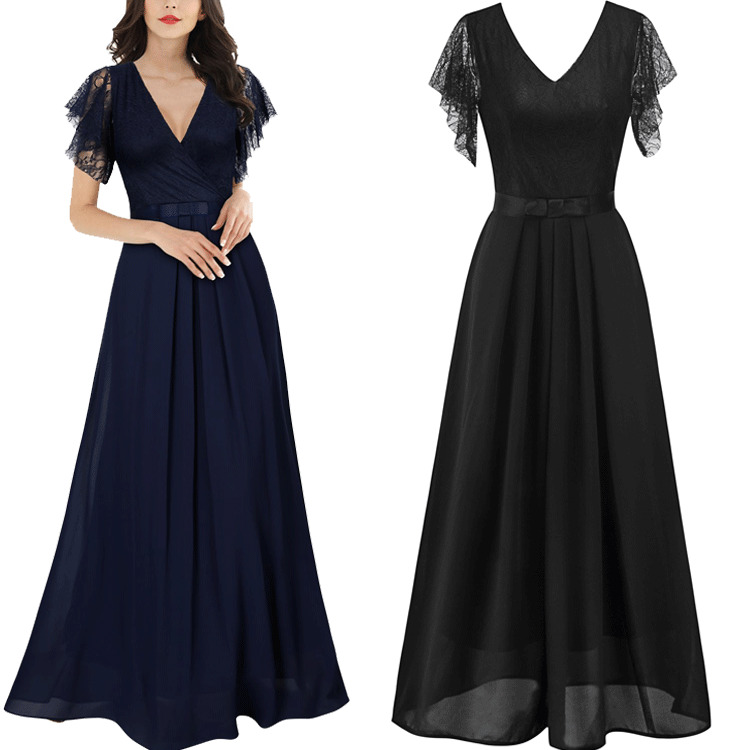 Black Evening Dresses 2019 V-Neck A-Line Chiffon Lace Long Elegant Party Dresses Backless Short Sleeve Special Occasion Dresses