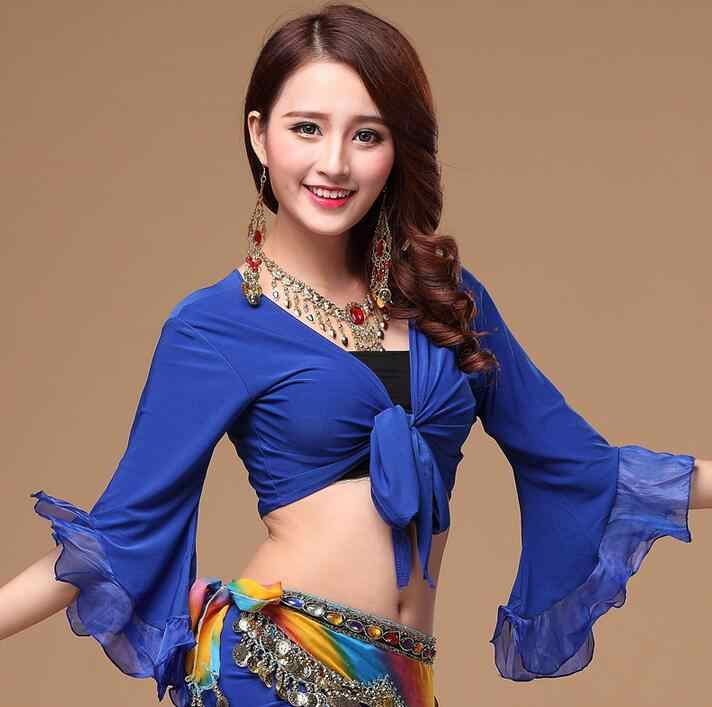 ead255e132b033 Women s Flair Wrap Tie Top Choli Blouse Belly Dance Gypsy Costume Butterfly  Sleeve Royal Blue Red