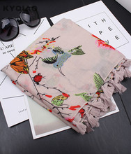 KYQIAO Women hijab scarf 2017 female autumn Spain style bohemian designer long white blue pink grey birds print head scarf cape