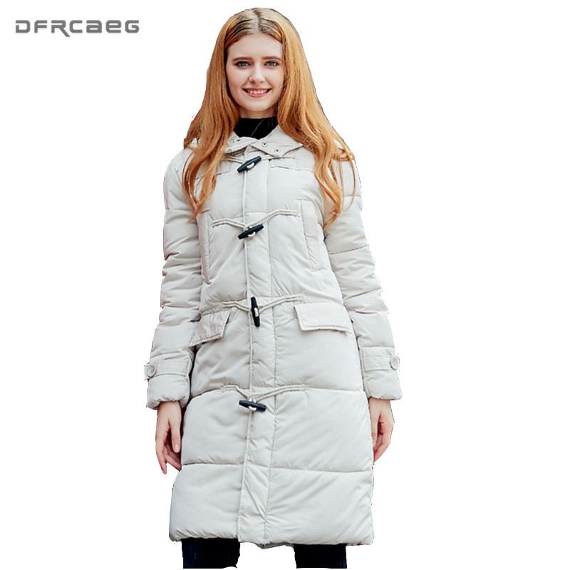 Warm Winter Mid-Long Coat Women 2017 Fashion Black White Cotton Padded Hooded Parka Casual Long Sleeve Thicken Jacket Outwear Îäåæäà è àêñåññóàðû<br><br>