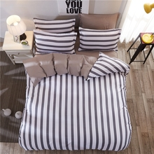 Hot Fashion Stripe Individual Chemical Fiber Bedding Set Colorful Bed Set Pillowcase Bed Sheet Duvet Cover For Home Bedroom 4PCS(China)