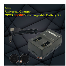 High-quality universal USB interface charger 1PCS + 2PCS rechargeable coin cell LIR2025 Button Battery