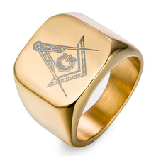 high quality 6 - 14 gold & black &silver Stainless Steel Masonic Ring for Men master masonic signet ring free mason ring jewelry