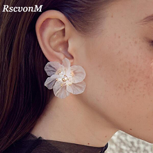Buy RscvonM New Fashion Big White Flower Earrings Women 2018 Jewelry Bijoux Elegant Gift Wedding Earrings White Wedding Jewelry for $1.05 in AliExpress store